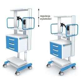 Wózki pod aparaturę medyczną AR120-2 z elektryczną regulacją wysokości
