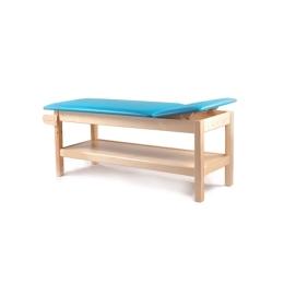Drewniany stół rehabilitacyjny SR-F p do fizykoterapii z regulowanym zagłówkiem i półką na akcesoria